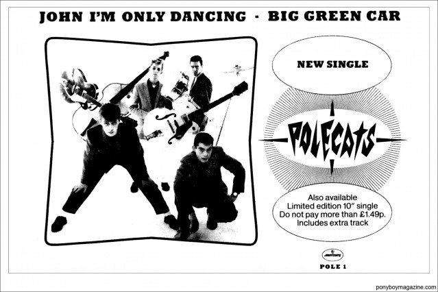 """An old advert for the Polecats single """"John I'm Only Dancing"""". Ponyboy Magazine."""