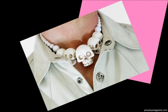 A photograph of Tim Polecat's skull necklace. Photographed for Ponyboy Magazine by Alexander Thompson.