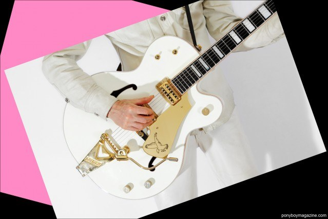 A closeup shot of Tim Polecat's Gretsh guitar, photographed by Alexander Thompson for Ponyboy Magazine.