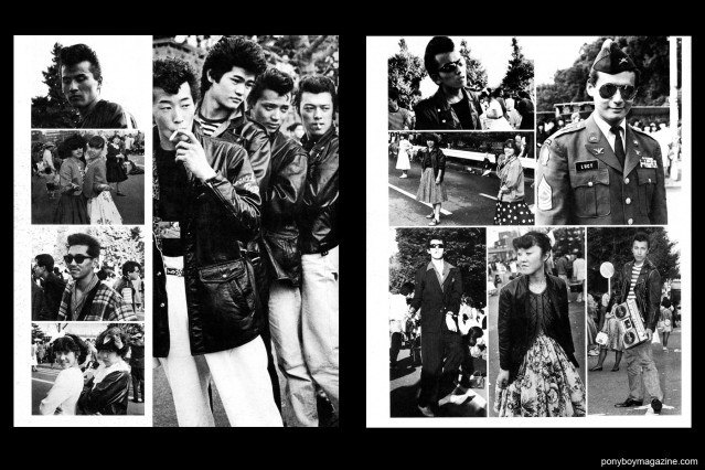 """B&W photos of young rockabilly men and women in Japan, dressed in 1950's fashion. From the book """"Teddy: Japanese 50's Rollers in 80's"""". Ponyboy Magazine."""