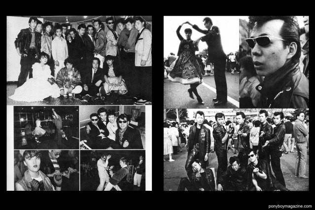 """Young rockabilly Japanese men and women, photographed in 50's fashions. From the book """"Teddy: Japanese 50's Rollers in 80's"""". Ponyboy Magazine."""