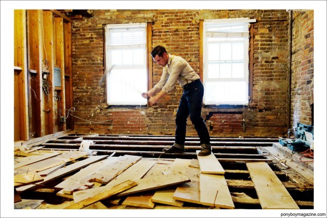 Carpenter Jim Lanwehr, hard at work. Ponyboy Magazine.