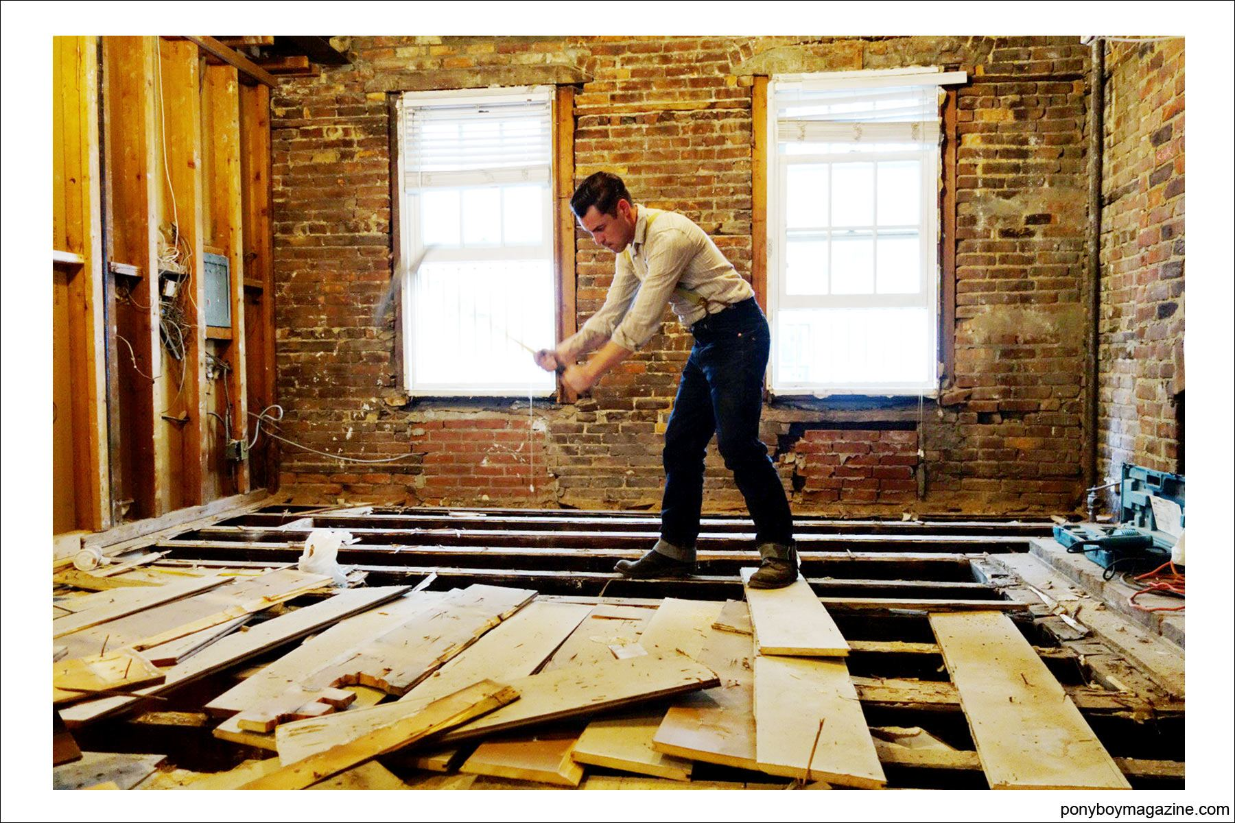 Carpenter Jim Lanwehr, hard at work, for Ponyboy Magazine.