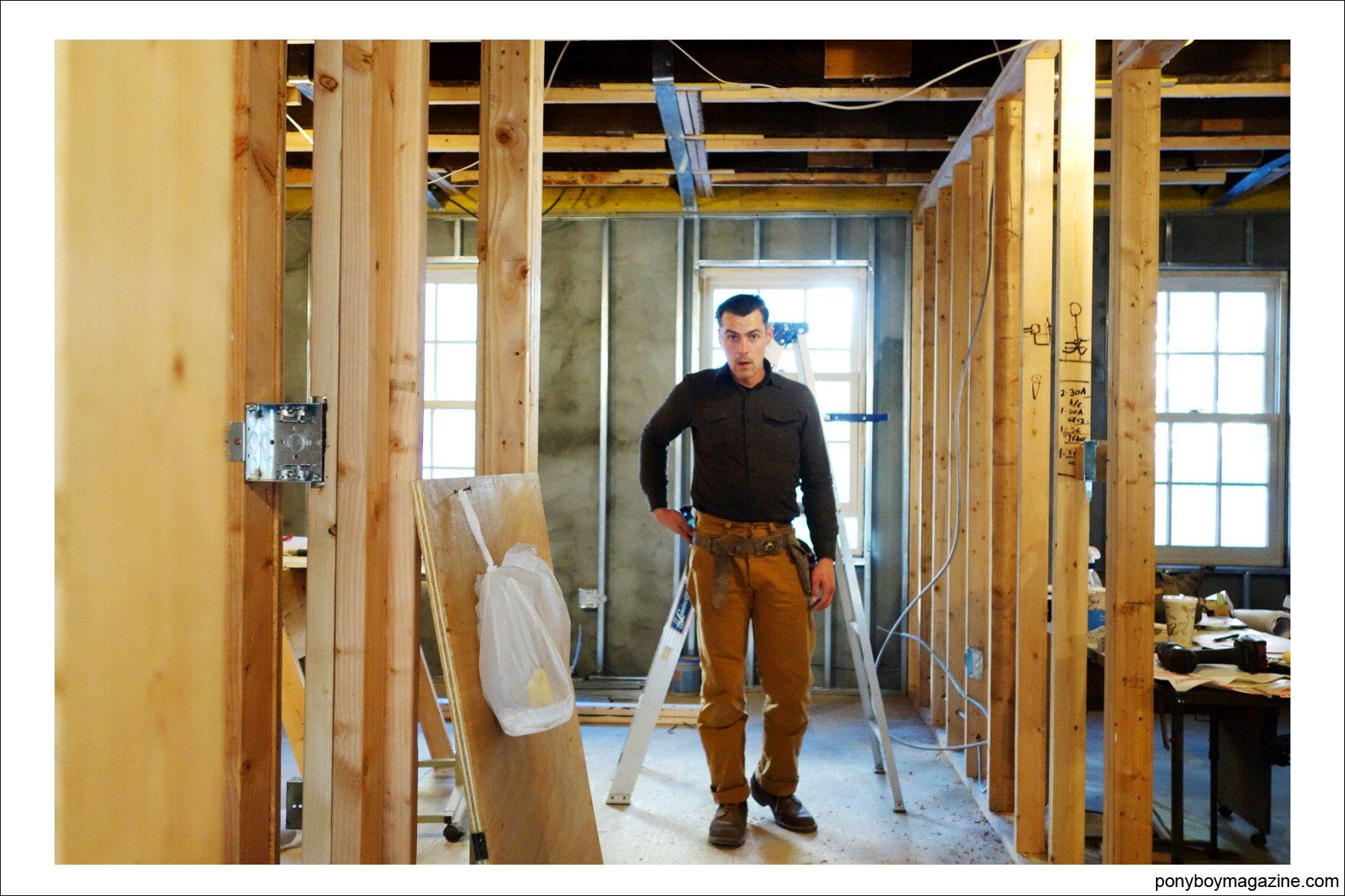 Photo of carpenter Jim Landwehr, for Ponyboy Magazine