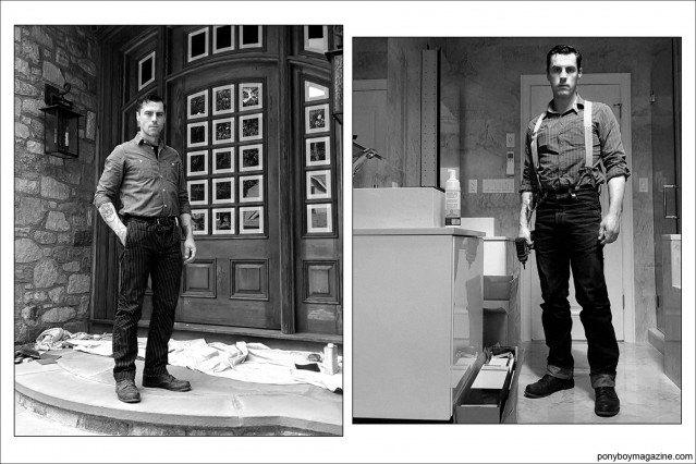 "B&W portraits of Jim Landwehr, from Instagram account ""workin_in_workwear"". Ponyboy Magazine."