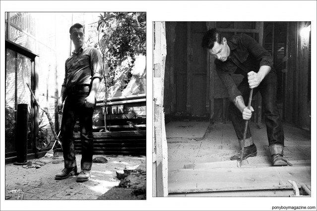 "B&W photos of Jim Landwehr, from instagram profile ""workin_in_workwear"". Ponyboy Magazine."