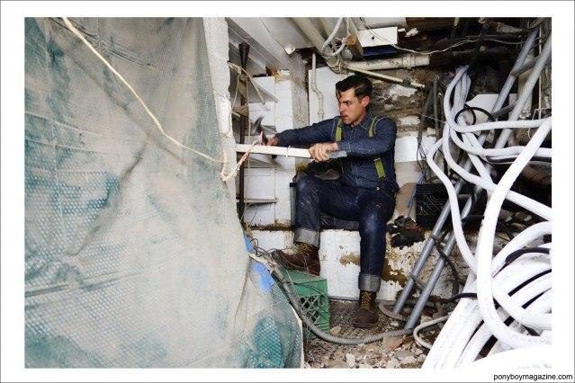 Photo of Jim Lanwehr hard at work. Ponyboy Magazine.