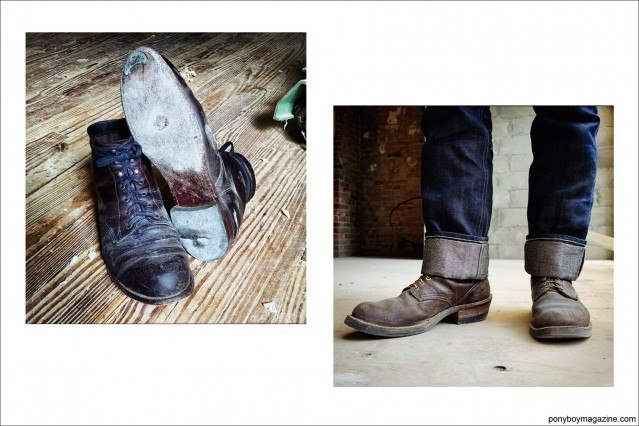Photos of work boots, from the collection of Jim Landwehr. Ponyboy Magazine.