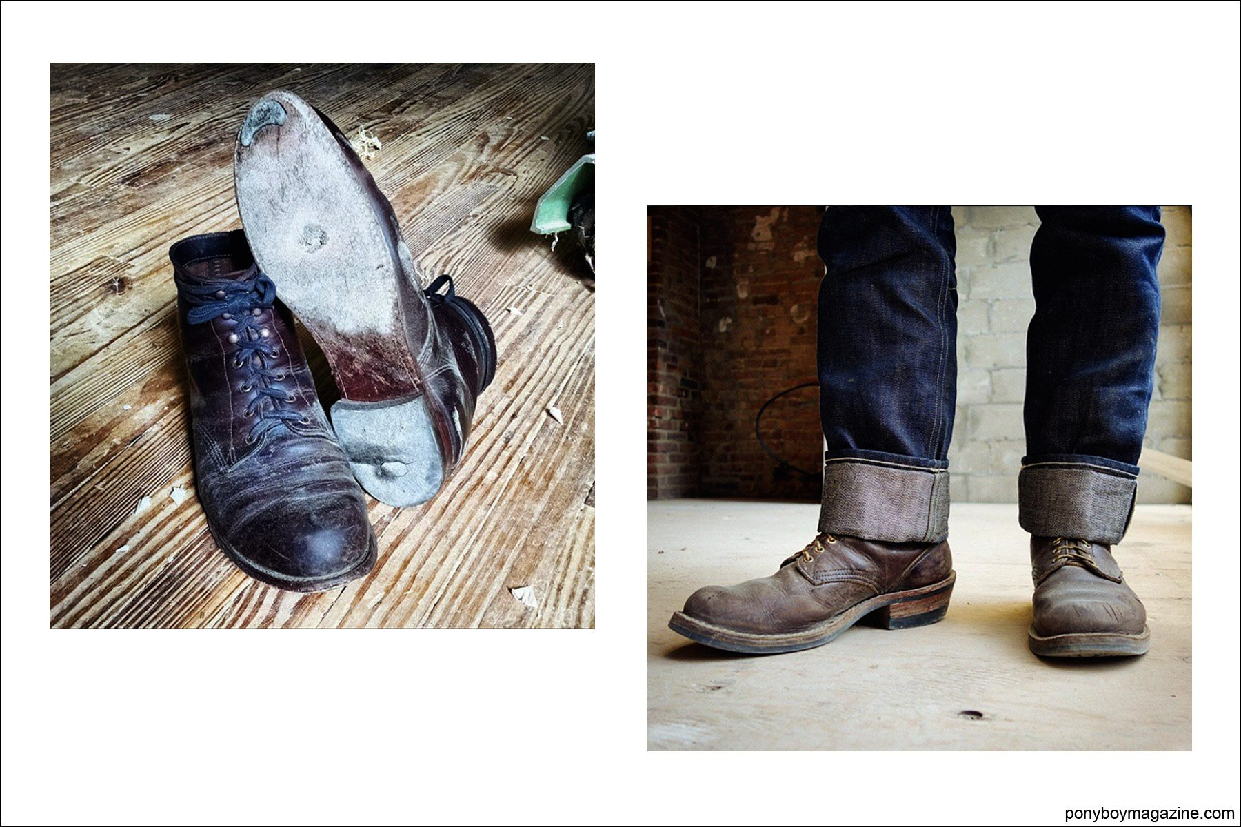 Photos of work boots, from the collection of Jim Landwehr, for Ponyboy Magazine.