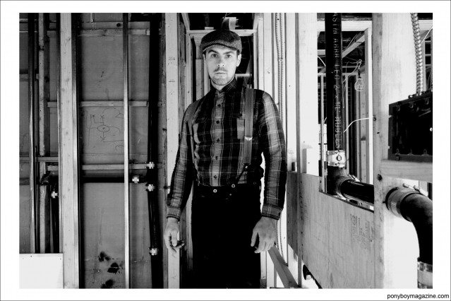 """B&W portrait of carpenter Jim Landwehr, from """"workin_in_workwear"""" profile on Instagram. Ponyboy Magazine."""