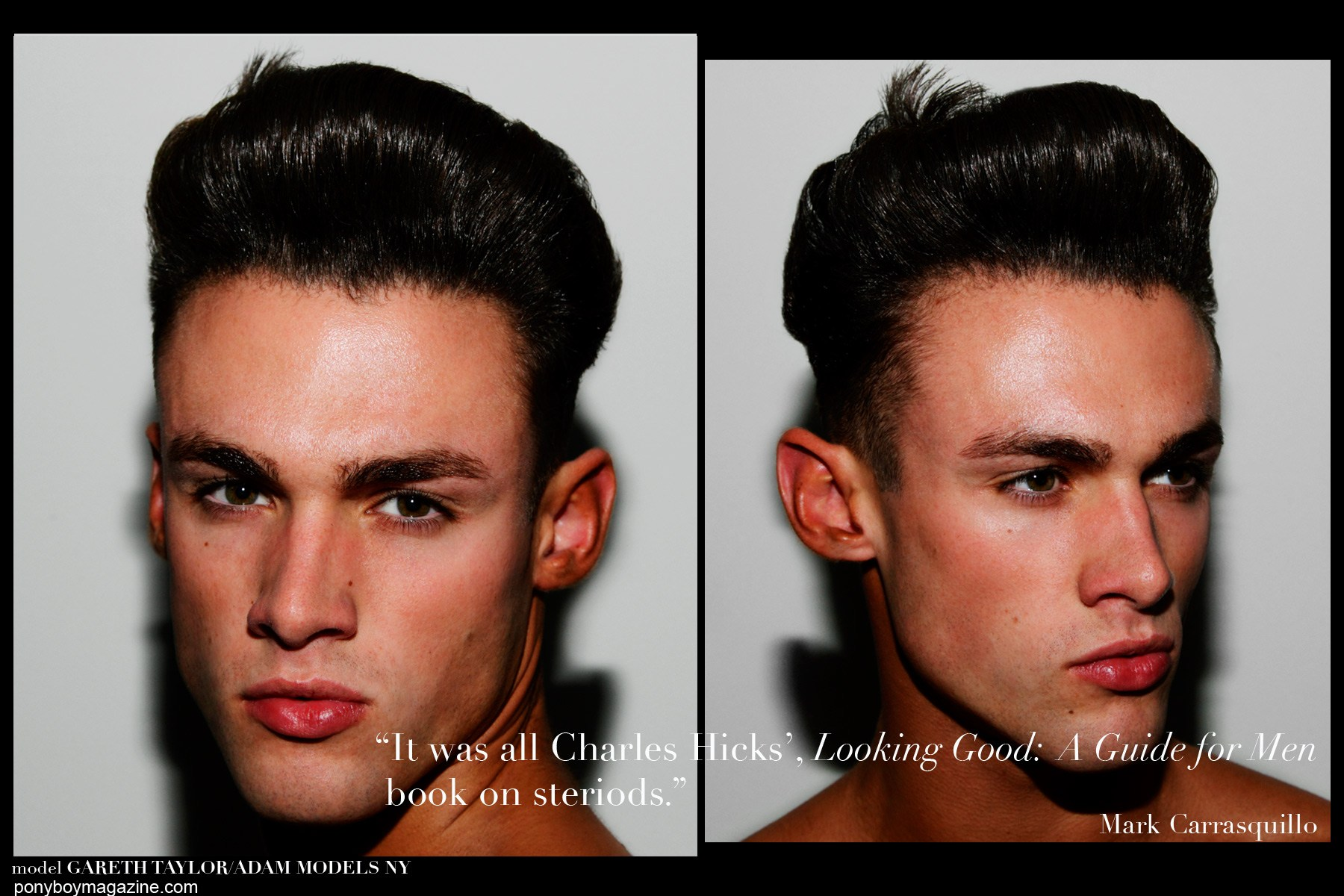 Male model Gareth Taylor, photographed backstage at Martin Keehn S/S15 runway show in New York City. Hair by Jimmy Paul and makeup by Marc Carrasquillo. Photographs by Alexander Thompson for Ponyboy Magazine.