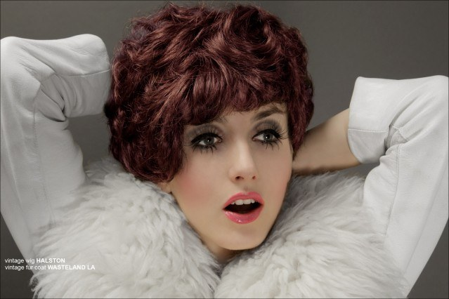 Designer Stella Rose Saint Clair photographed in a vintage Halston wig by Alexander Thompson for Ponyboy Magazine.