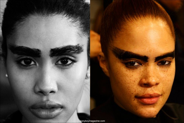 Extreme eyebrow looks at Chromat F/W15 collection, photographed backstage at Milk Studios by Alexander Thompson for Ponyboy magazine.