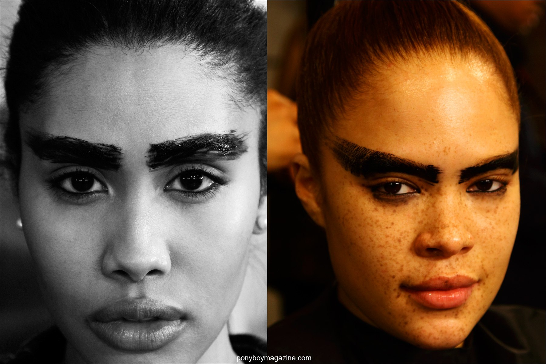 Extreme eyebrow looks at Chromat F/W 2015 collection, photographed backstage at Milk Studios by Alexander Thompson for Ponyboy magazine.