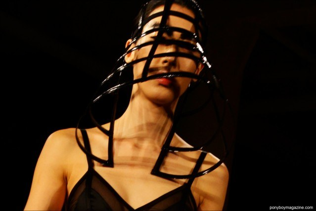 A futuristic Chromat F/W15 cage hat, photographed at Milk Studios by Alexander Thompson for Ponyboy magazine.