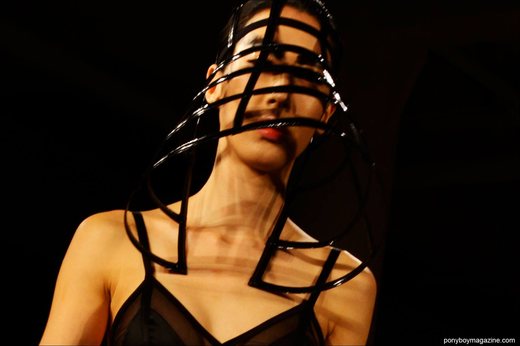A futuristic Chromat F/W 2015 cage hat, photographed at Milk Studios by Alexander Thompson for Ponyboy magazine.