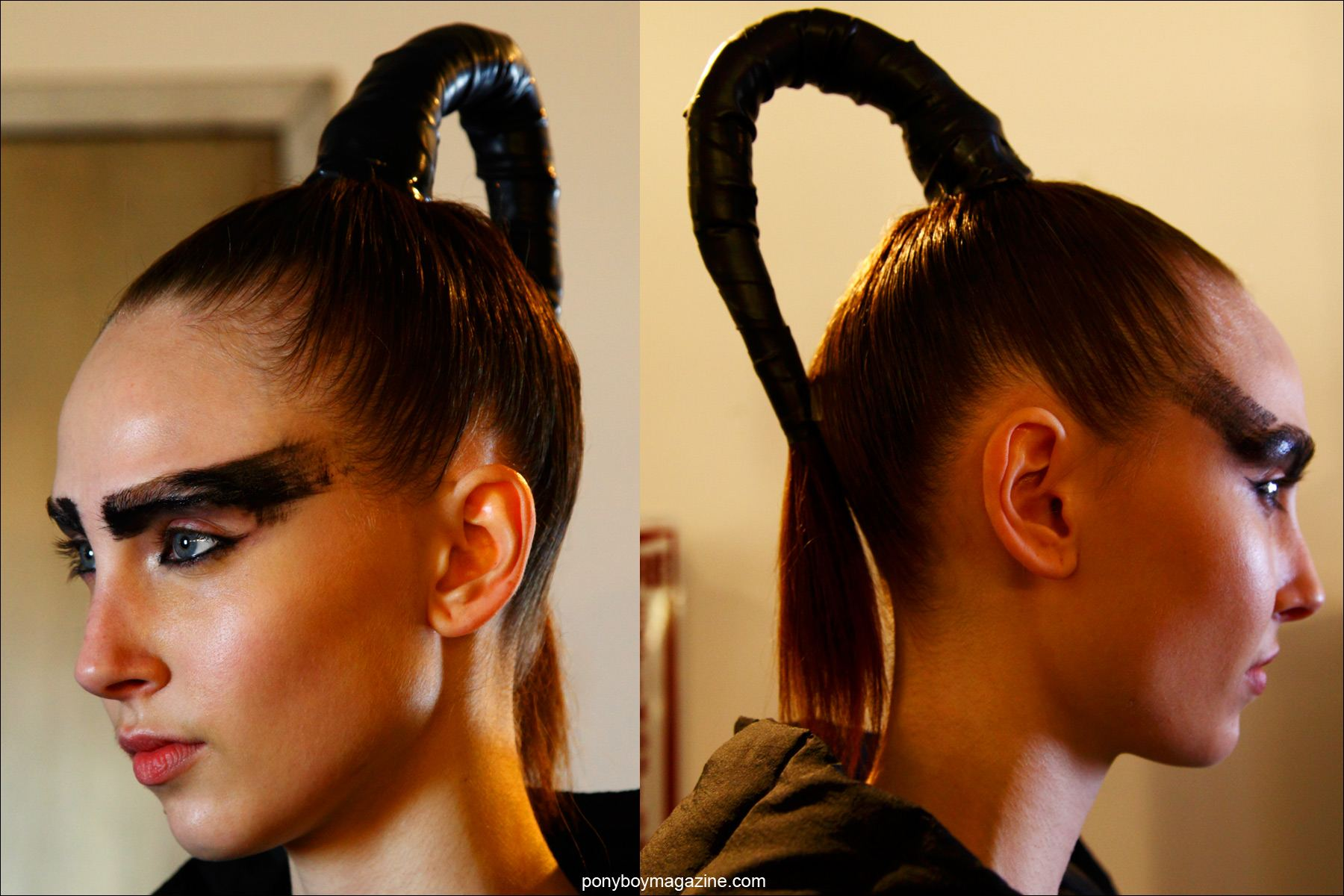 An extremely modern ponytail, photographed backstage at Chromat F/W15 collection in New York. Photos by Alexander Thompson for Ponyboy magazine.