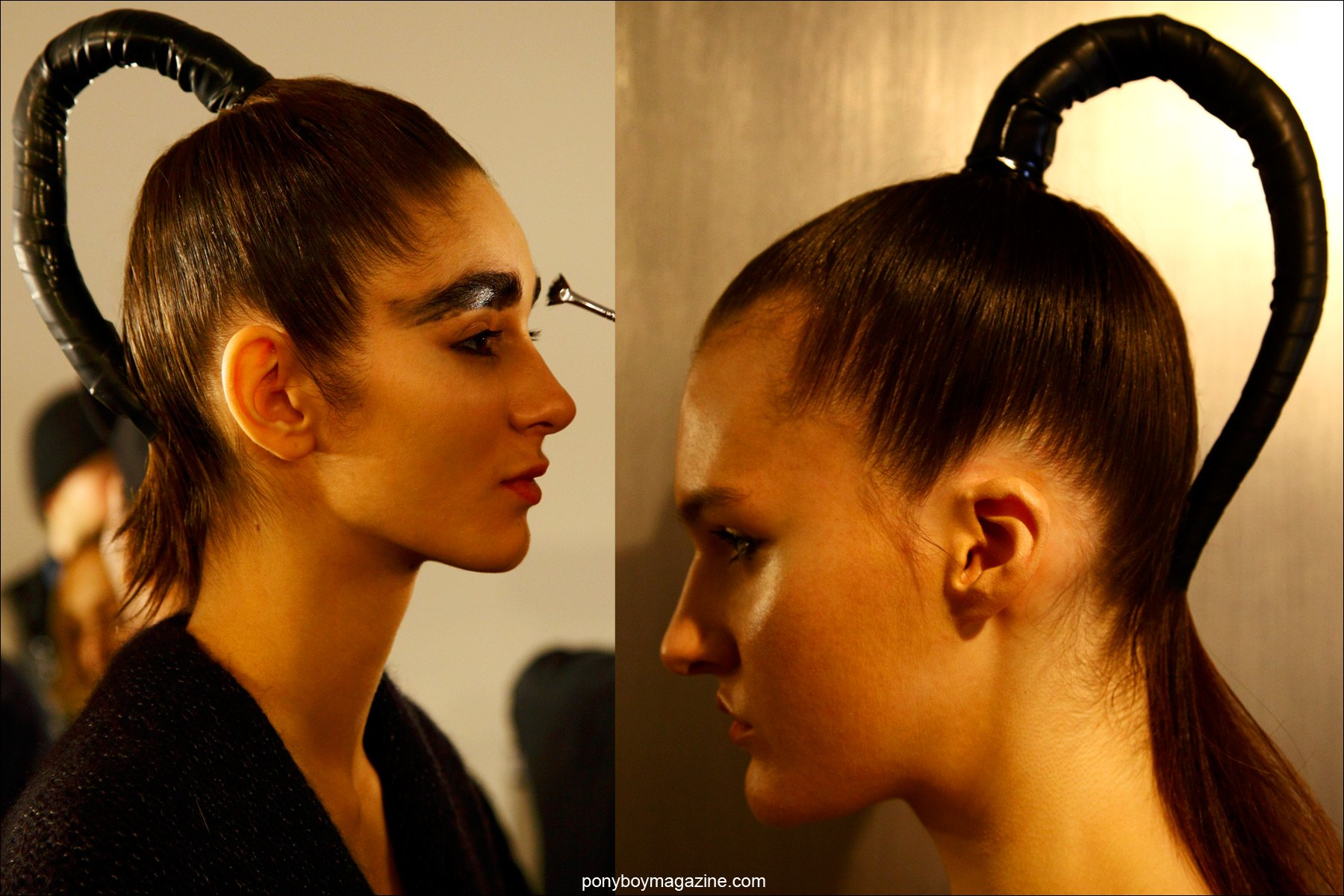 Futuristic ponytails at Chromat F/W15 collection in New York City. Photographs by Alexander Thompson for Ponyboy magazine.