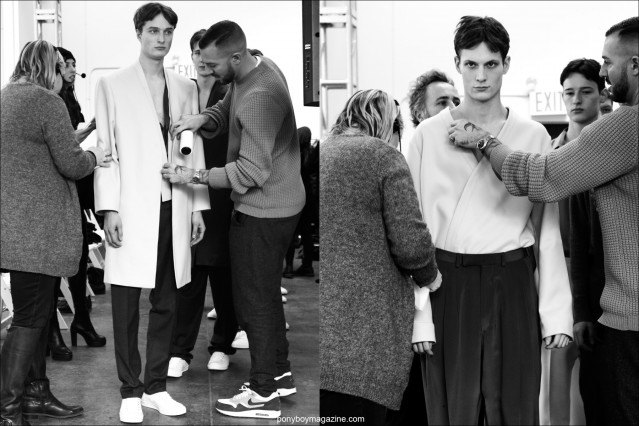 Male models Almantas Petkunas and Felix Gesnouin, photographed before walking the Duckie Brown F/W15 runway at Industria Studios in New York. Photo by Alexander Thompson for Ponyboy magazine.