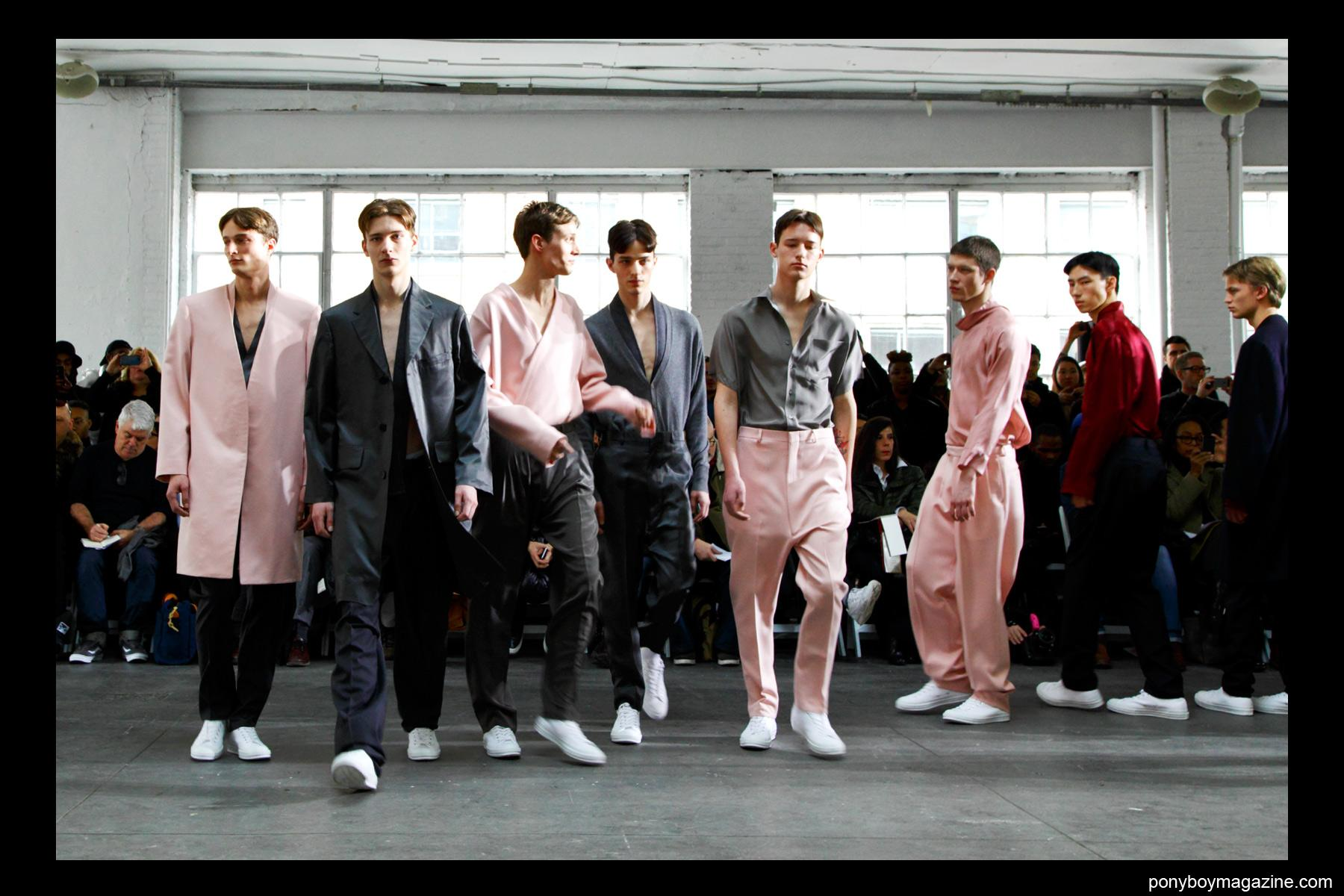 Male models on the runway at Duckie Brown F/W15. Photographed at Industria Studios in New York by Alexander Thompson for Ponyboy magazine.