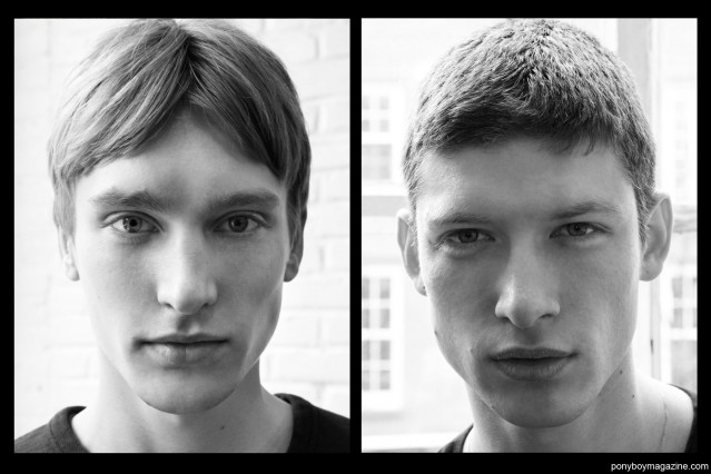B&W portraits of male models Jeroen Smits and Gleb Haradkou, backstage at Duckie Brown F/W15 collection at Industria Studios. Photos by Alexander Thompson for Ponyboy magazine.