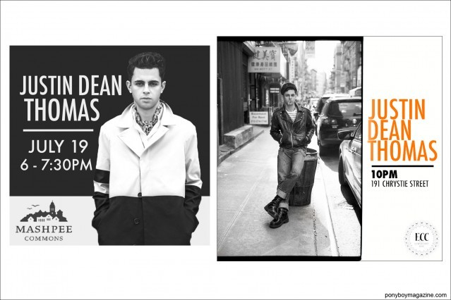 B&W flyers of New York City musician Justin Dean Thomas. Ponyboy magazine.
