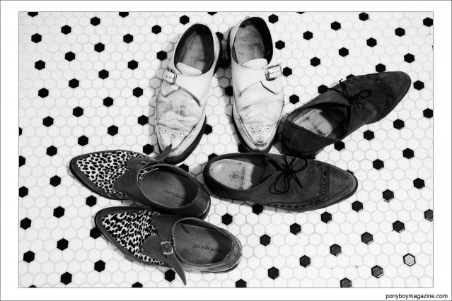 Assorted shoes from the collection of musician Justin Dean Thomas. Photographed by Alexander Thompson for Ponyboy magazine.