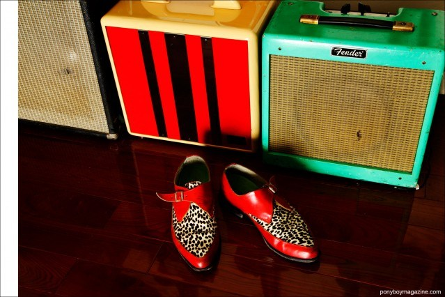 Detail shot of amps and shoes, property of musician Justin Dean Thomas. Photo by Alexander Thompson for Ponyboy magazine.