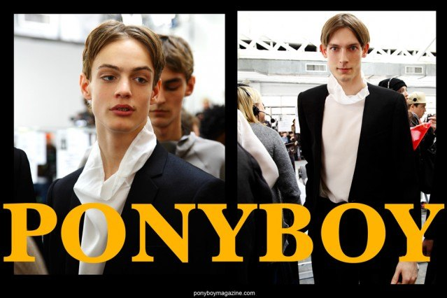 Photograph of model Charlie James by Alexander Thompson for Ponyboy magazine, backstage at Duckie Brown F/W15.