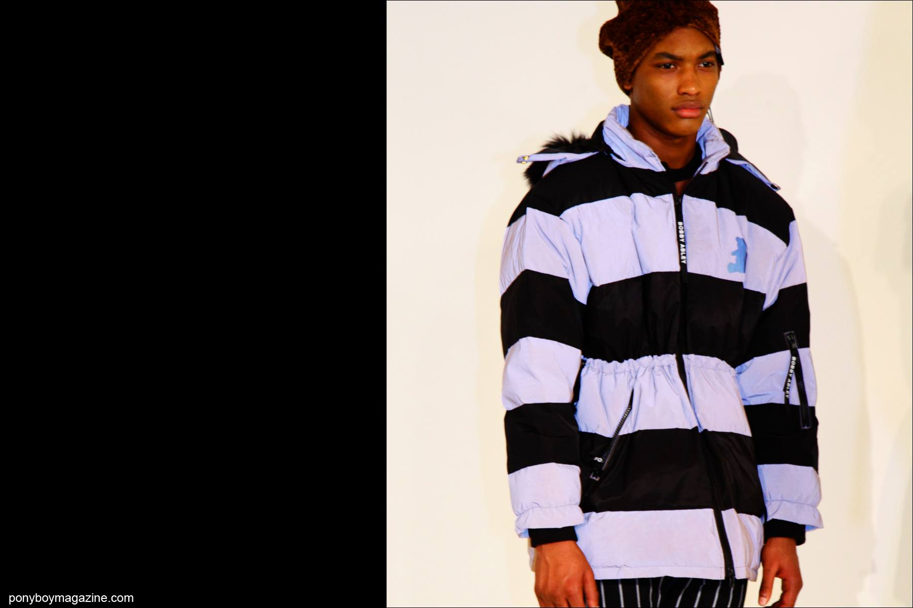 A striped look at Bobby Abley Fall/Winter 2015 collection at Milk Studios in New York City. Photographed by Alexander Thompson for Ponyboy magazine.