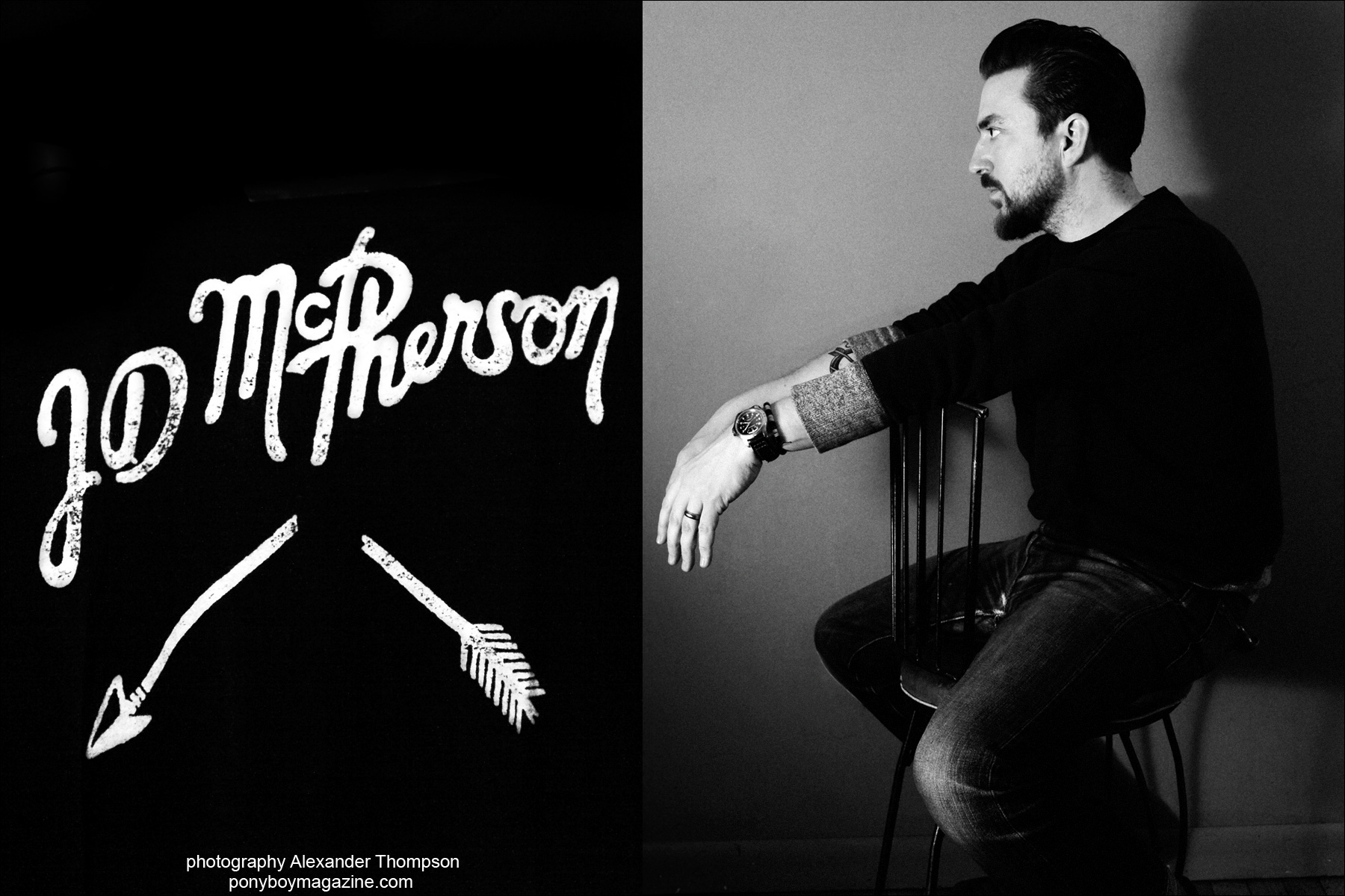 Opening image of musician JD McPherson, photographed for Ponyboy magazine by Alexander Thompson in New York City.