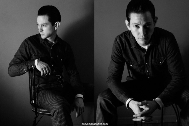 B&W portraits of guitarist/saxophonist Doug Corcoran, photographed by Alexander Thompson in New York City for Ponyboy magazine.