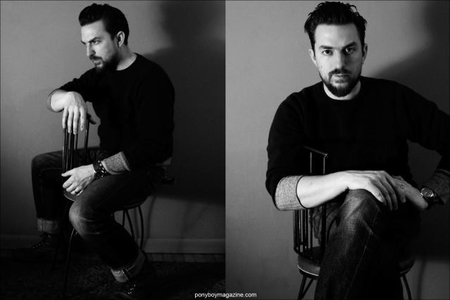 B&W portraits of musician JD McPherson, photographed in New York City for Ponyboy magazine by Alexander Thompson.