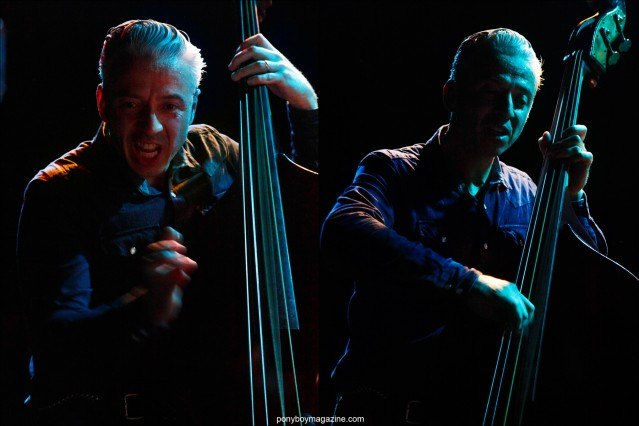 Close-up shots of upright bassist Jimmy Sutton, from the band Jd McPherson, photographed by Alexander Thompson in New York City for Ponyboy magazine.