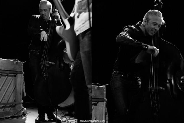 B&W images of upright bassist Jimmy Sutton, from the JD McPherson band, photographed by Alexander Thompson for Ponyboy magazine in New York.