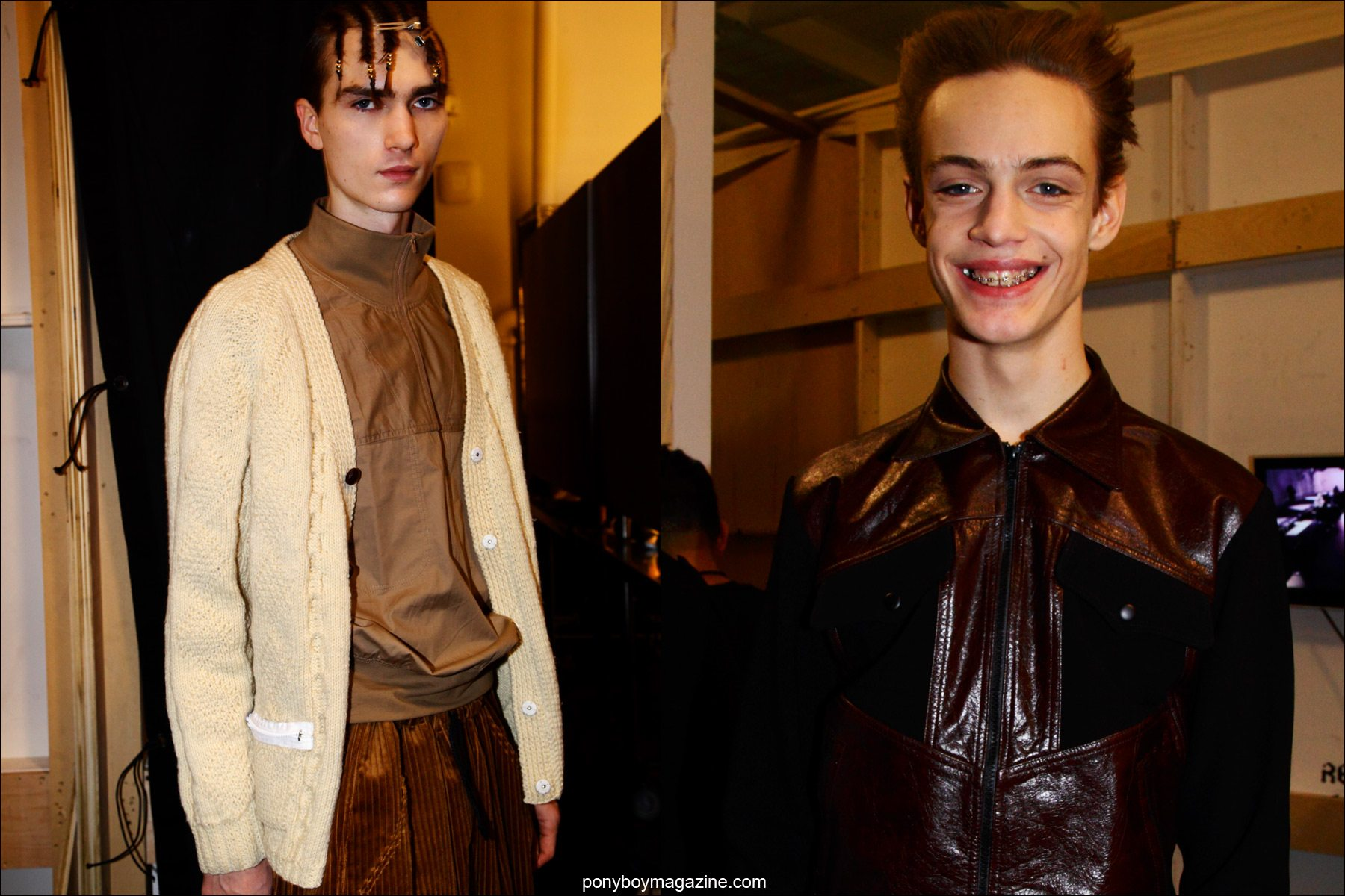 Male models Gryphon O'Shea and Charlie James photographed by Alexander Thompson for Ponyboy magazine, backstage at Martin Keehn F/W15 show.