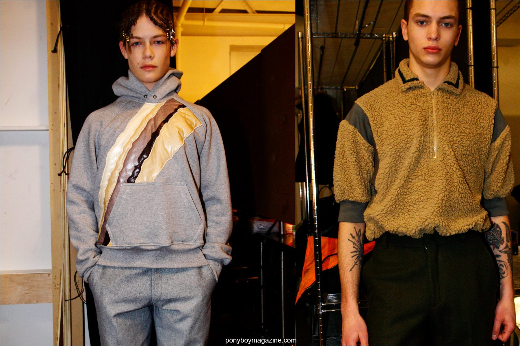 Male models snapped backstage by Ponyboy magazine photographer Alexander Thompson, at Martin Keehn F/W15 menswear collection at Pier 59 Studios in NY.