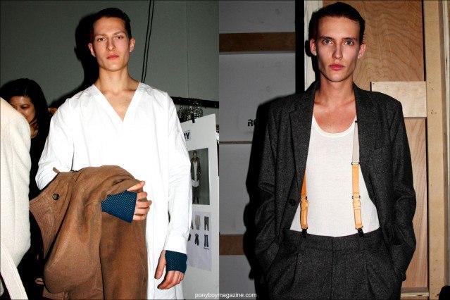 Male models Dimitry Brylev and Dzhovani Gospodinov photographed backstage in Robert Geller F/W15 menswear. Photography by Alexander Thompson for Ponyboy magazine.
