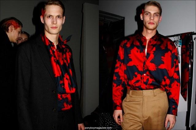 Male models Felix Gesnouin and Baptiste Radufe wearing Robert Geller Fall/Winter 2015 collection at Pier 59 Studios in New York. Photographs by Alexander Thompson for Ponyboy magazine.