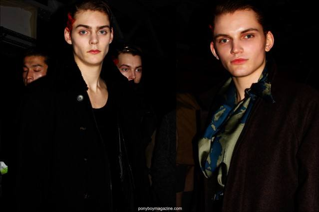 Models Mats Van Snippenberg and Morris Pendlebury snapped backstage at Robert Geller F/W 2015 menswear show by photographer Alexander Thompson for Ponyboy magazine.