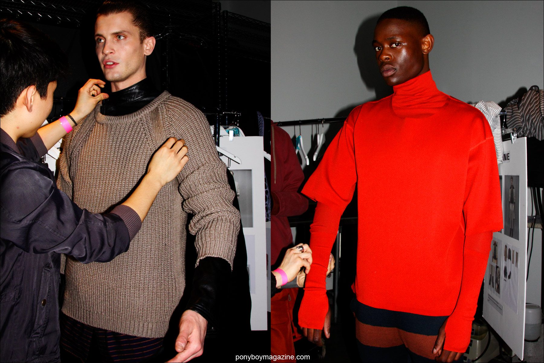 Male models get dressed backstage at Robert Geller F/W15 collection at Pier 59 Studios. Photos by Alexander Thompson for Ponyboy magazine.