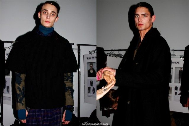 Male models Kyle Mobus and Arthur Gosse photographed backstage at the Robert Geller Fall/Winter 2015 collection. Photos by Alexander Thompson for Ponyboy magazine.