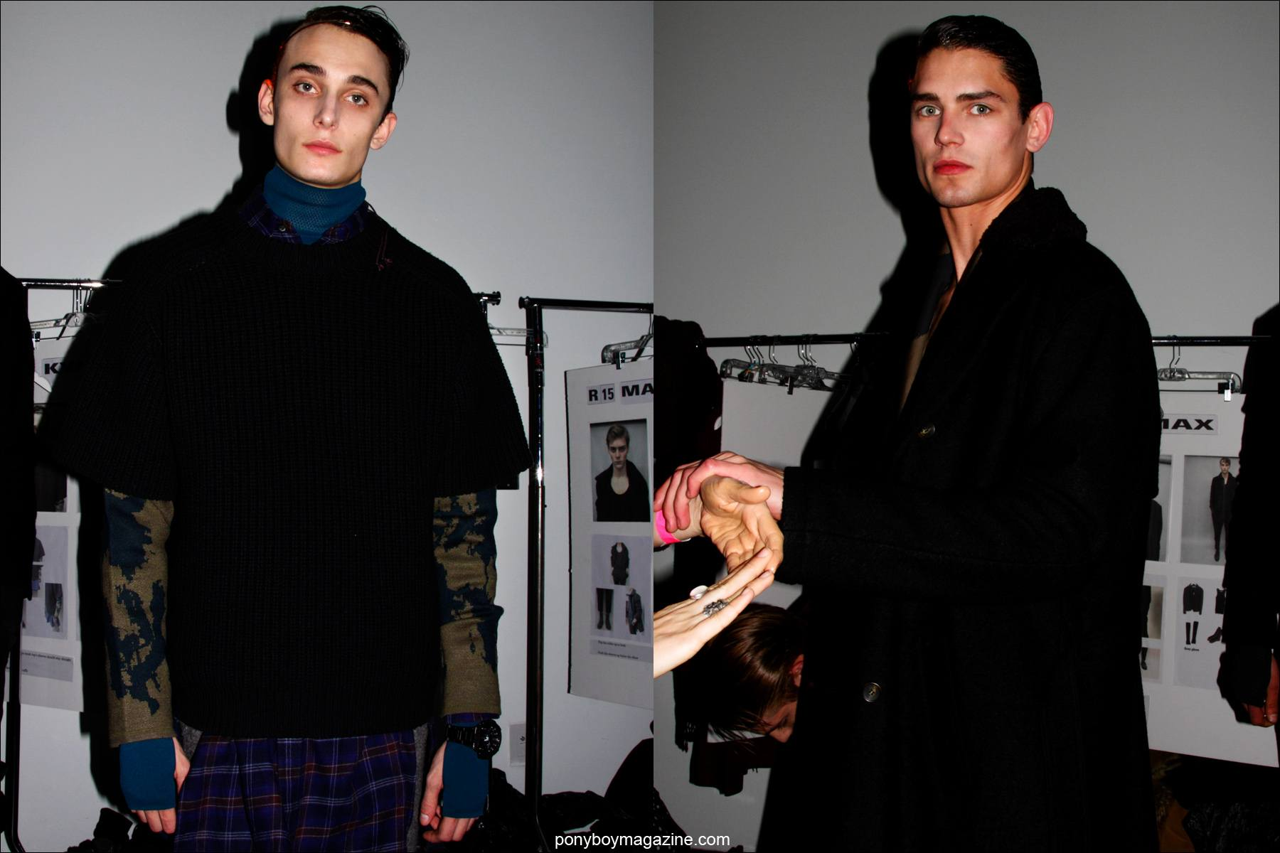 Male models Kyle Mobus and Arthur Gosse photographed backstage at the Robert Geller Fall/Winter 2015 collection. Photographs by Alexander Thompson for Ponyboy magazine.
