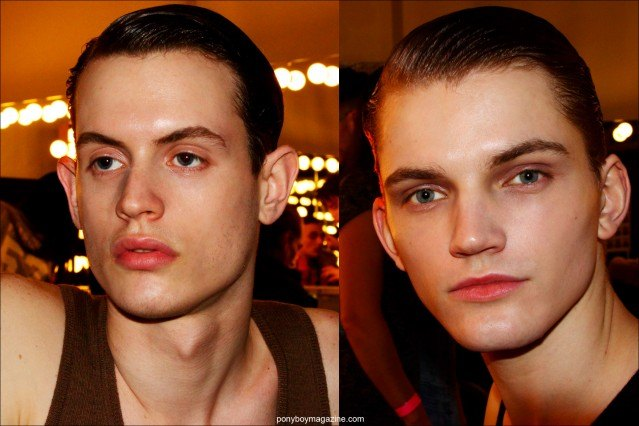 Male models Jakub Pastor and Morris Pendlebury photographed backstage at the Robert Geller F/W15 collection. Photo by Alexander Thompson for Ponyboy magazine.