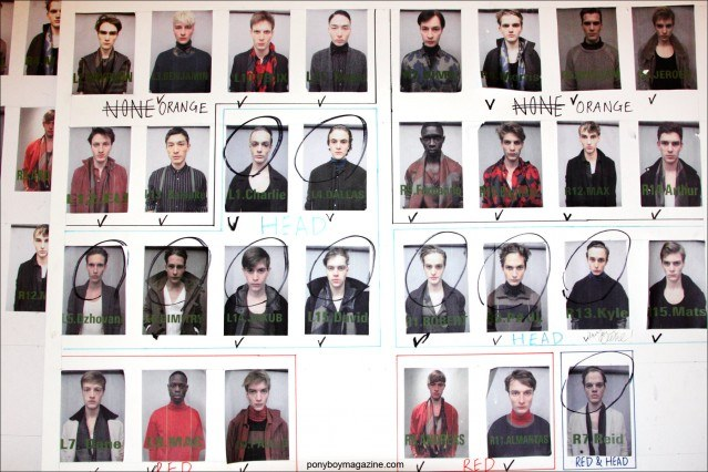 Polaroids of male models, backstage at Robert Geller F/W15 collection at Pier 59 Studios. Photograph by Alexander Thompson for Ponyboy magazine.