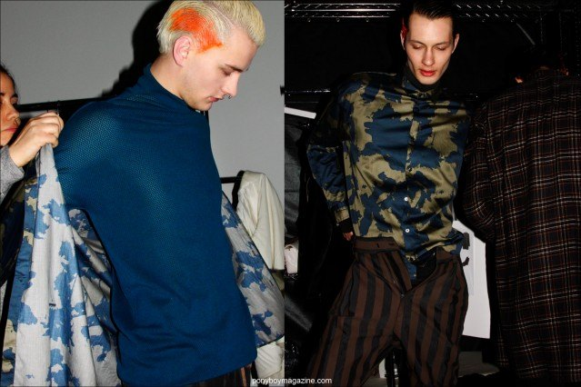 Male models Benjamin Jarvis and Dima Dionesov photographed getting dressed backstage at the Robert Geller F/W15 menswear collection. Photographs by Alexander Thompson for Ponyboy magazine.