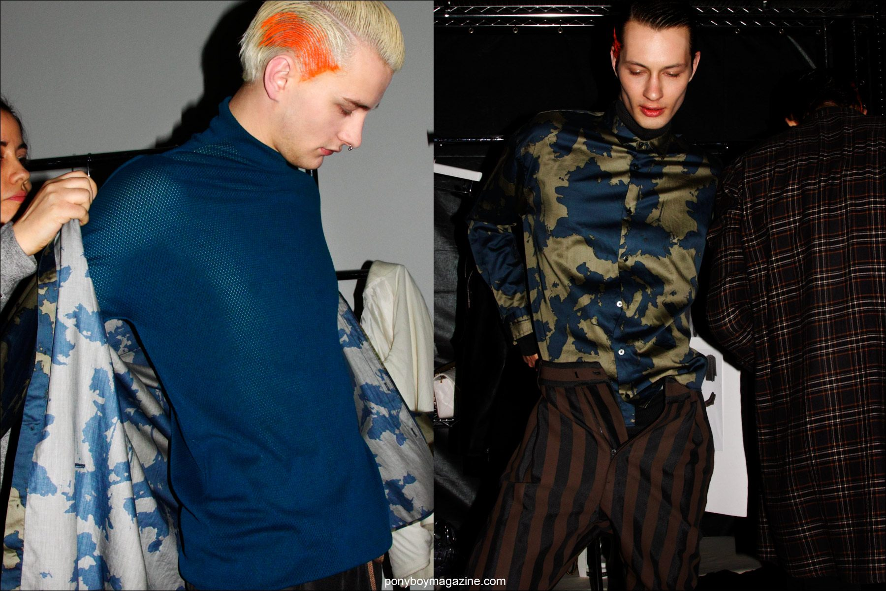 Male models Benjamin Jarvis and Dima Dionesov photographed getting dressed backstage at the Robert Geller F/W15 menswear collection. Photos by Alexander Thompson for Ponyboy magazine.