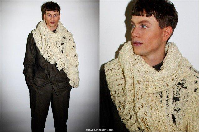 Male model Sid Ellisdon, photographed backstage at Rochambeau F/W15 menswear collection by Alexander Thompson for Ponyboy magazine.