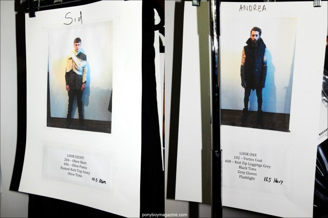 Dressing cards for male models at Rochambeau F/W15 collection. Photographed backstage by Alexander Thompson for Ponyboy magazine.