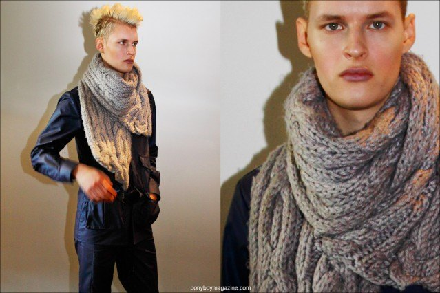 Blonde haired model Antony Klymenko, photographed backstage at Rochambeaur F/W15 collection. Photos by Alexander Thompson for Ponyboy magazine.